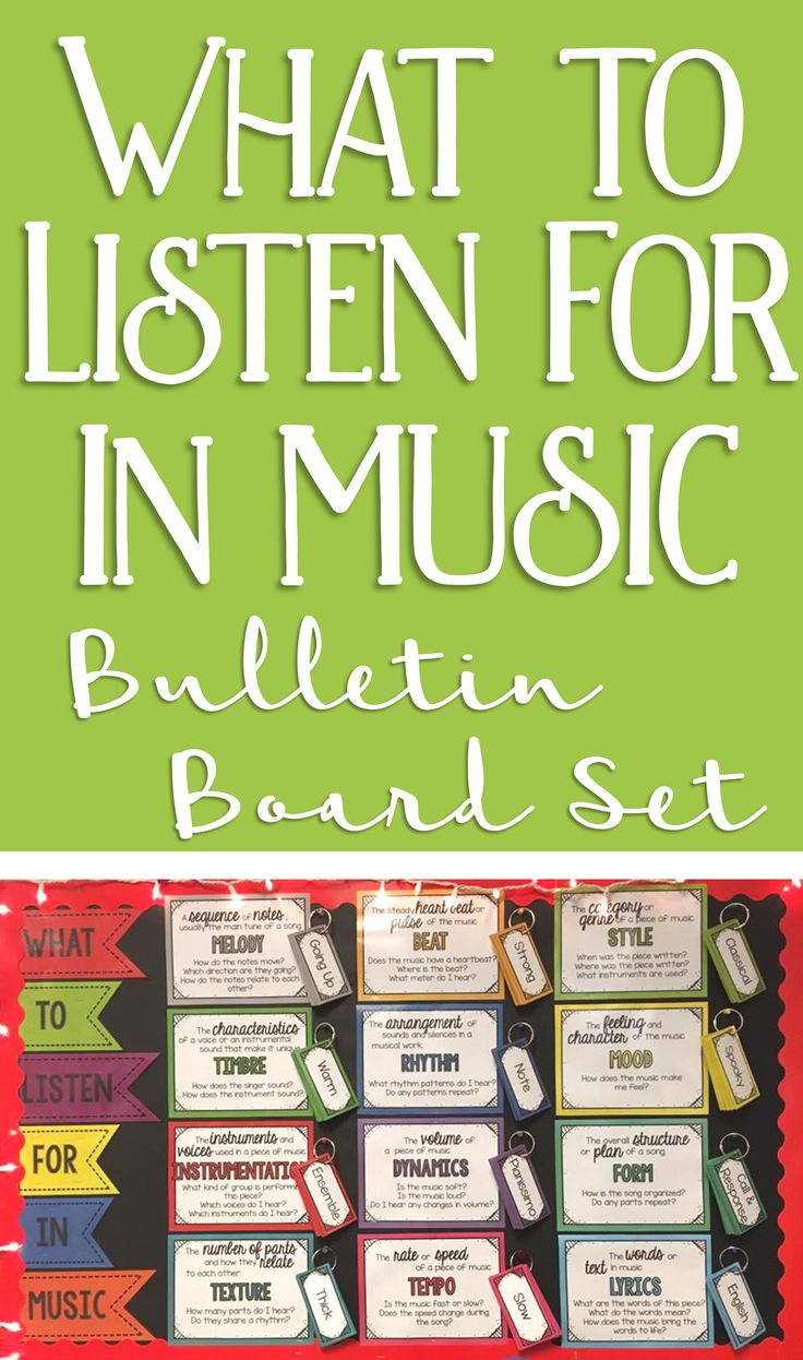 I love this music bulletin board idea: put term cards on a ring clip next to the category poster! This is a beautiful and brilliant music word wall.