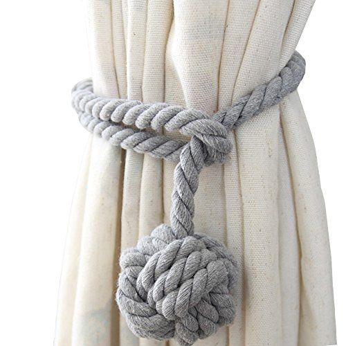 Chictie Natural Cotton Handmade Ball Knot Curtain Rope Cords Tiebacks Holdbacks Vintage American Rural Style Drapery Tiebacks Tie Band,Set of 2 (Light grey):   Dress up your curtain with high quality simple ropes,suitable for thick/thin string curtain, gauze shade curtain, can use for bed-curtain net holder,balcony curtain tiebacks,etc. This would be ideal for a beach themed room, coastal cottage, or boaty bathroom!