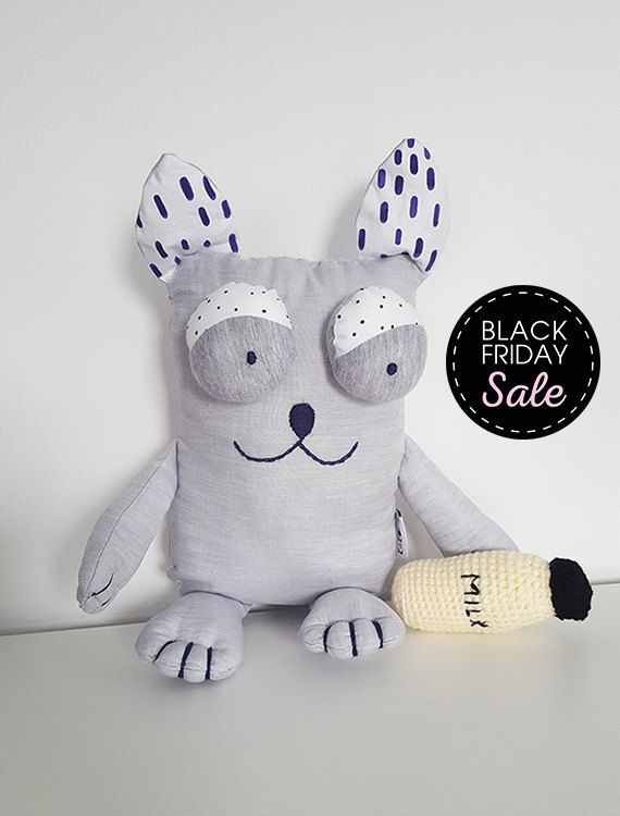 Black Friday Sale -20% Hand made cat with a crochet bottle of milk,  Stuffed animals & plushies, gifts for the holidays, Sweet Cat toys doll by KAKUMAstore on Etsy