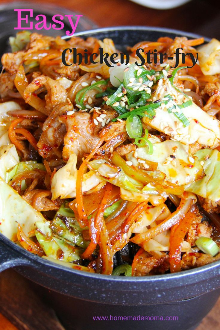 Super easy chicken stir fry recipe with delicious vegetables and fried rice with a simple sauce. Made for an easy dinner best for nights with little time to cook.