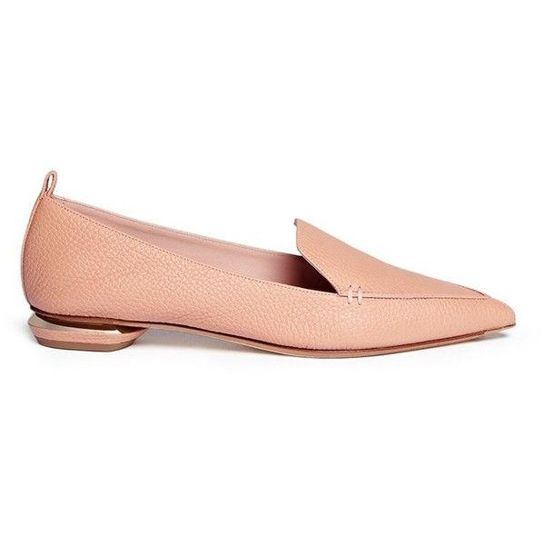 Nicholas Kirkwood 'Beya Bottalato' metal heel leather skimmer loafers ($500) ❤ liked on Polyvore featuring shoes, loafers, neutral, loafer shoes, ballerina shoes, nude ballet shoes, ballet flat shoes and pointed toe loafers