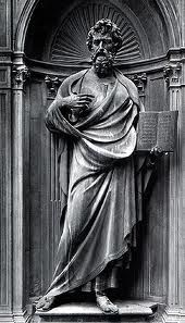 """St. Matthew"" 1419-1423 by Ghiberti in Bronze; Influences of Donatello are apparent; Ghiberti uses contropposto, and his figure is reminiscent of ancient Greek statues."