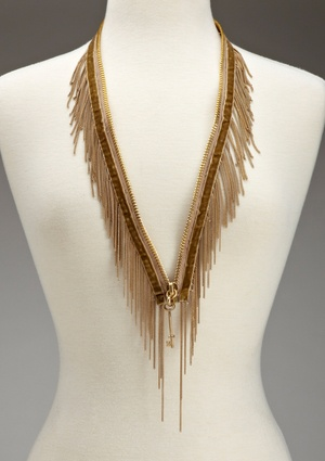 BCBGeneration Zipper Fringe Statement Necklace