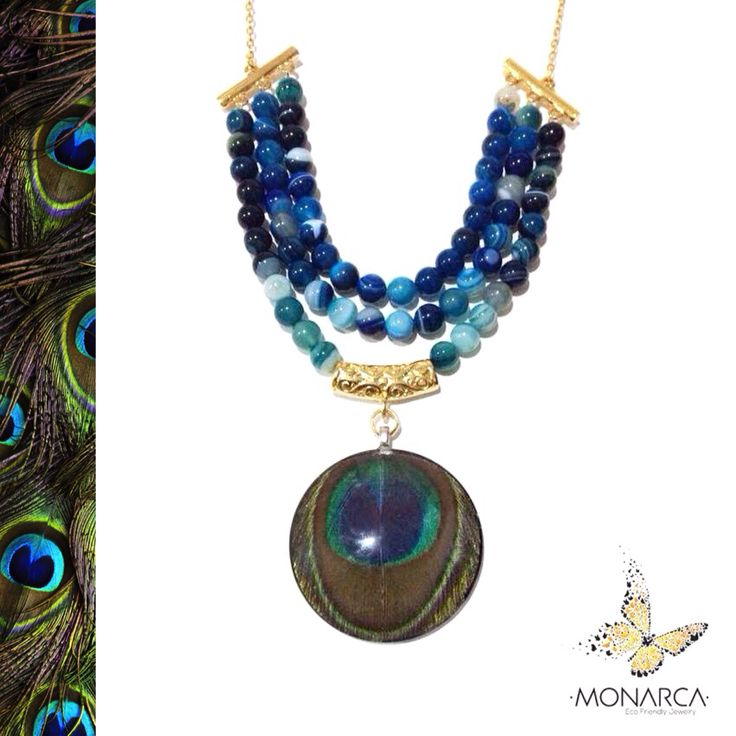 Real Peacock feather necklace with blue agates.