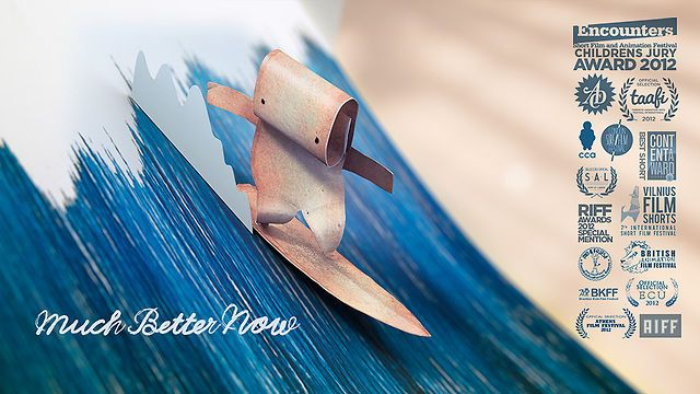 Much Better Now by Salon Alpin. A bookmark is stuck in a forgotten book that is one day knocked over by wind. It experiences its environment by surfing the pages that turn in to ocean-waves, enjoying the ride of its life. As the book cover closes light reveals new challenges.