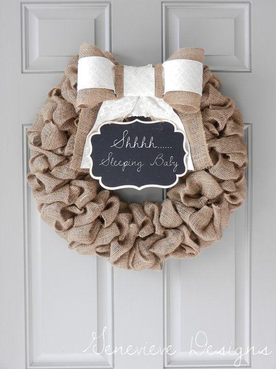 Burlap Wreath with Chalkboard and Bow- Spring Wreath, Summer Wreath, Baby Wreath, Front Door Wreath, Large Wreath, Hospital Door Wreath