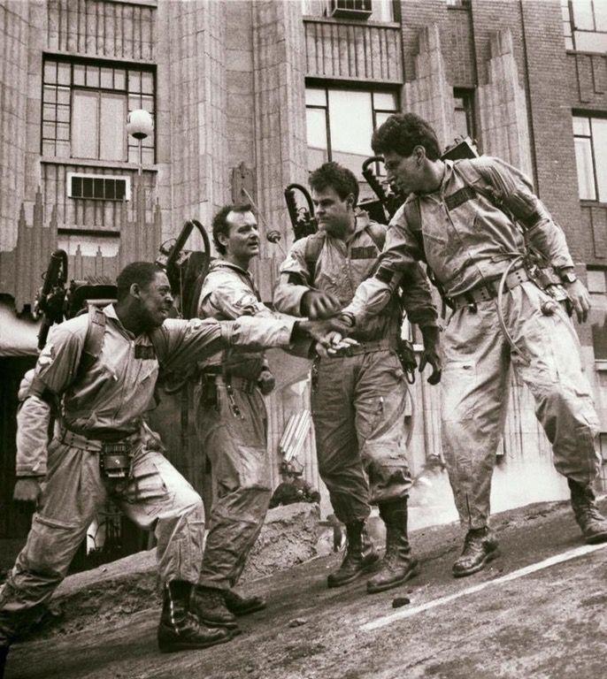 Ernie Hudson, Bill Murray, Dan Aykroyd, and Harold Ramis on the set of the original Ghostbusters, 1984.
