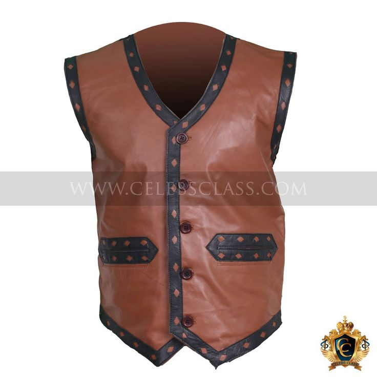 """Crafted with real leather an evil look leather jacket. Inspired by movie """"The Warriors"""" depicting its true look. In brown color and attractive designs that extremely eye pleasing. From our point of view leather vests are surely out the blue thing for you now.  http://www.celebsclass.com/product/ajax-warriors-vest-costume/"""