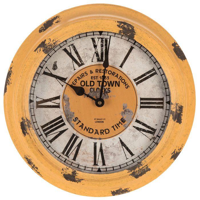 Antique Yellow Metal Wall Clock In 2020 Metal Wall Clock Wall