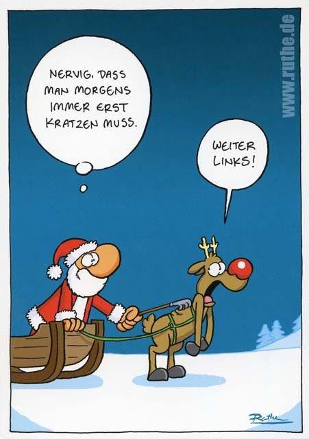 nikolaus lustige bilder | Weihnachtspostkarte mit lustigen Sprüchen - Nervig, dass man morgens ...