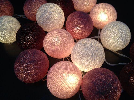 Cotton ball lights for home decor,party decor,wedding patio,20 piecesindoor string lightsbedroom fairy lights, maroon tone