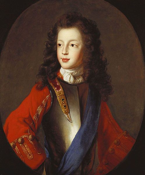 "James Francis Edward Stuart c. 1703 attributed to Alexis Simon Belle. Prince of Wales (Chevalier de St George or ""The Old Pretender"" 1688 –1766) was the son of James II of England,VII of Scotland. He claimed the English, Scottish and Irish thrones  from the death of his father in 1701, when he was recognized as king by his cousin Louis XIV of France. Following his death in 1766 he was succeeded by his son Charles Edward Stuart in the Jacobite Succession."
