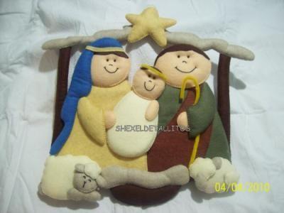 nacimiento y pesebre adorno navideño fieltro bordado