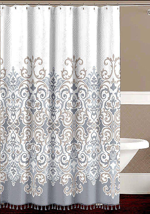 Decorative Floral Fabric Shower Curtain Elegant Style Grey
