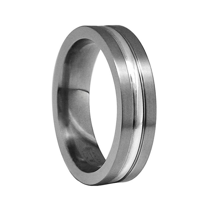 STI by Spectore Gray Titanium and Sterling Silver Striped Band Ring, Men's, Size: 11.50, multicolor