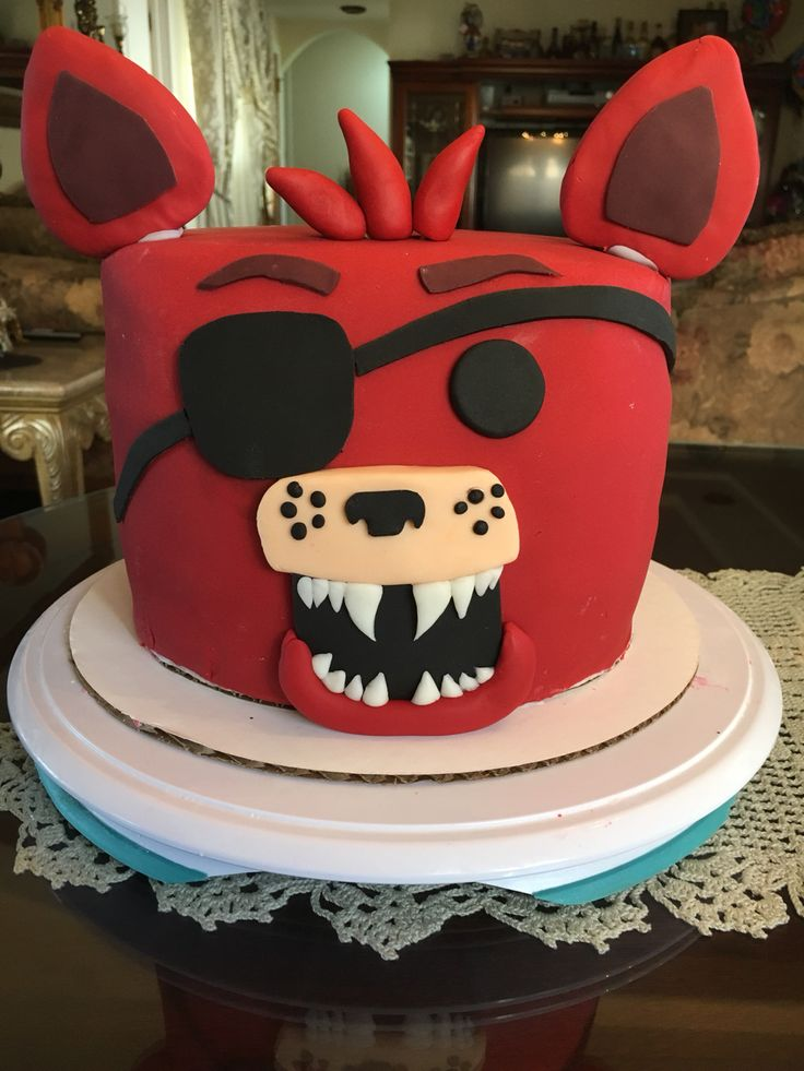 Red velvet/Vanilla Foxy Five Nights @ Freddy's cake . Something Sweet by Letty Garcia .