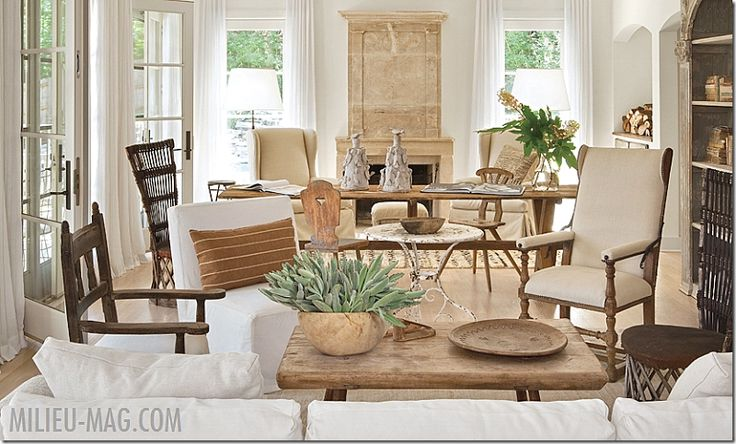 texture---white and wood; amazing chairs Milieu Magazine via Cote de Texas: