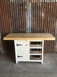 Kitchen Island Cupboard Drawers Breakfast Bar Storage Unit Rustic Solid Pine