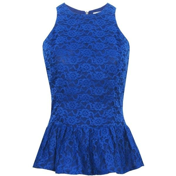 Fair+True New  Fair Trade Lace Peplum Top ($114) ❤ liked on Polyvore featuring tops, shirts, blusas, peplum, tank tops, peplum tops, blue peplum top, lace peplum top, shirts & tops and lace peplum shirt