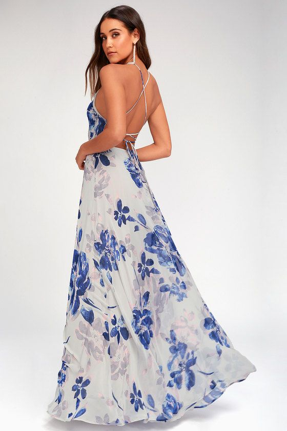 b4c41dd9154 The All I Need Grey Floral Print Lace-Up Maxi Dress will have you stylishly  satisfied in every way! Chiffon