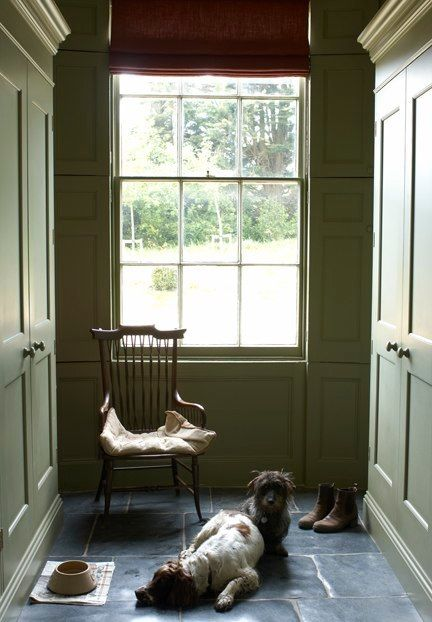 Downton Abbey Style. English green mudroom.