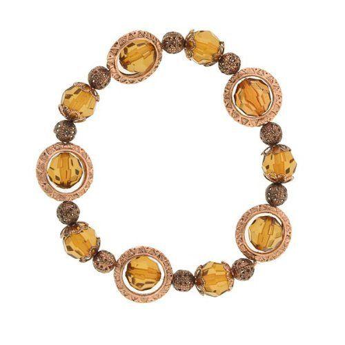"Rotating Amber Beaded Copper Bracelet 1928 Jewelry. $16.00. Measures: 6 1/2"" around x 1/2""W"