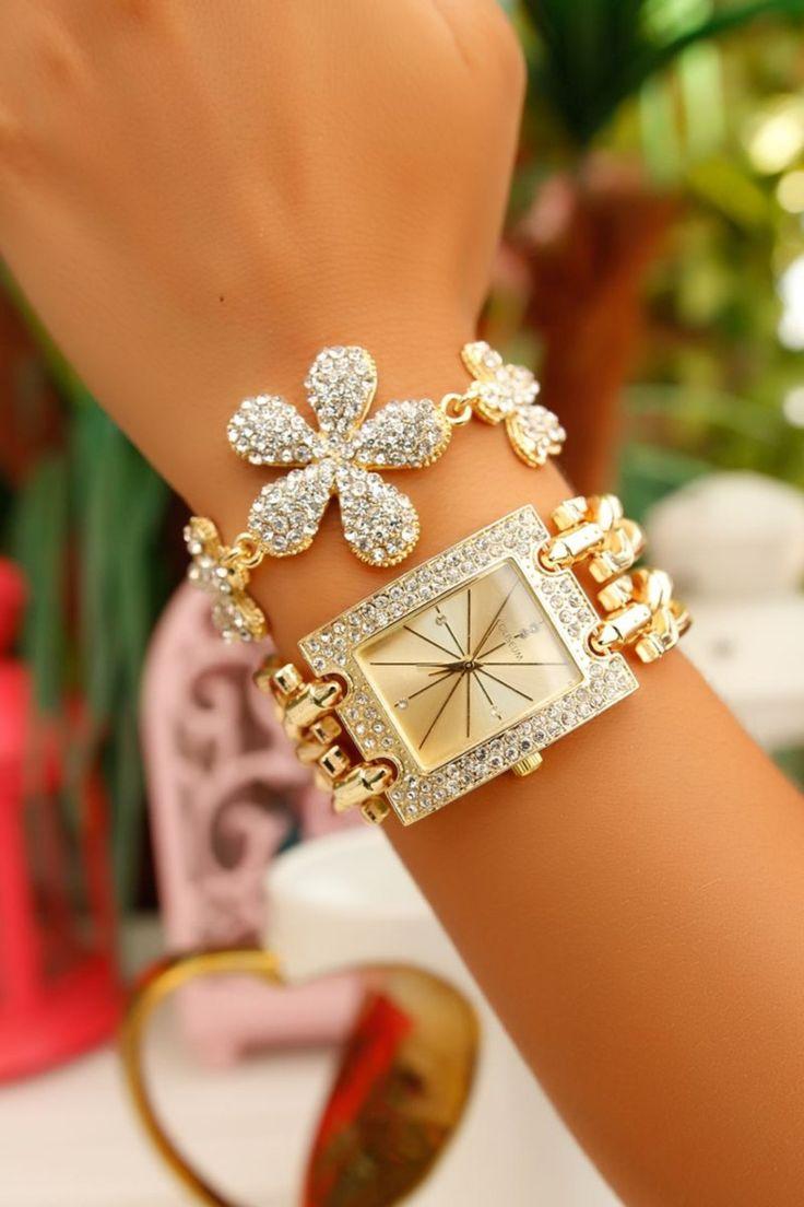 Bracelet Set-Women Watch Cuff Bracelet Set-Wrap Bracelet-Friendship Bracelet-Stackable Bangle Bracelet-Stacking Bracelet-Gold Stone Bracelet by Trinketmart on Etsy
