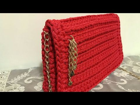 "Borsa ""Rossanna"" /borsa di fettuccia /crochet bag/bolso de ganchillo - YouTube"