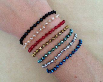 Brillantes tallados del Rondelle cristal Perla pulsera de la amistad - pulsera ajustable