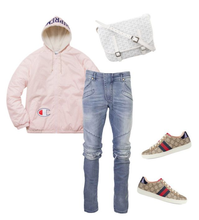 """""""Untitled #641"""" by aintdatjulian on Polyvore featuring Pierre Balmain, Gucci, Goyard, men's fashion and menswear"""