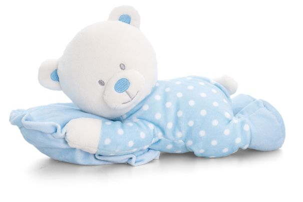 From the Baby Keel range, this soft plush white teddy is adorable and ready for bed wearing a blue and white spotty baby grow cuddling a matching blue pillow. They measure approximately 25cm in length and are suitable from birth. Makes an ideal New Born gift or as an addition to a Baby Gift Hamper.