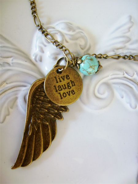 bronze angel wing necklace with inspirational charm live laugh love turquoise