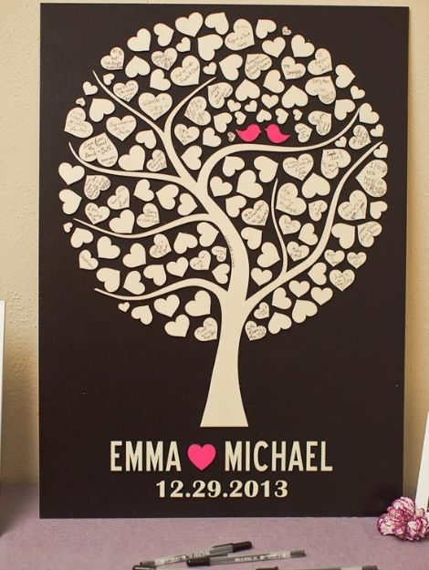 Heart tree for guests to sign instead of guest book. See the love birds in the tree?