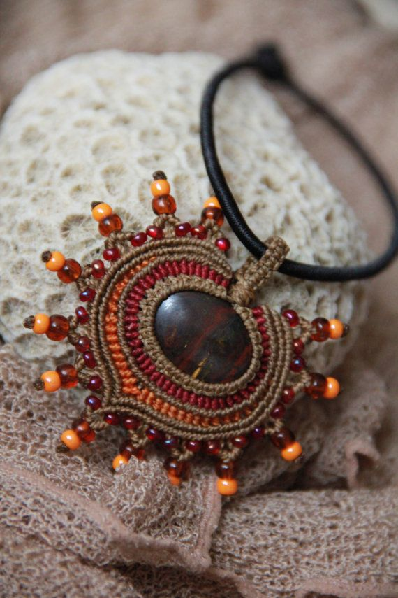 tribal macrame pendant with red tiger eye by veronikaindy on Etsy, $48.00