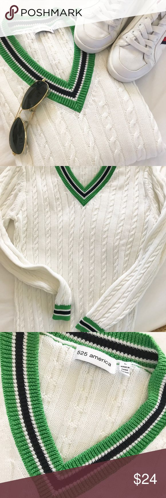 "525 America Preppy Tennis 🎾 Sweater SZ M 525 America Preppy Tennis 🎾 Sweater SZ M White Navy Green 16"" across shoulders  24"" arm length  18"" under arms  25"" shoulder to hem  Microscopic markings I believe are playing tricks on my eyes . I don't think that are marks, but in the knit. I couldn't even capture them in a photo. Hence the lower asking price. 525 America Sweaters V-Necks"
