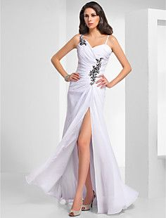 Sheath/Column V-neck Floor-length Chiffon Evening Dress  – USD $ 148.49