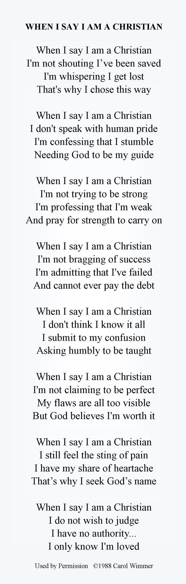 When I say I am a Christian poem - just words on white