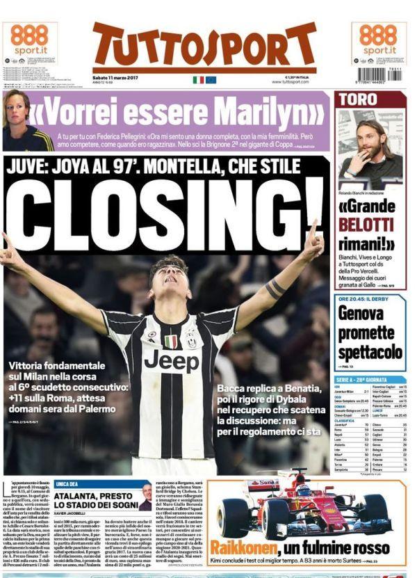Prima pagina TuttoSport oggi 11 marzo: Closing!