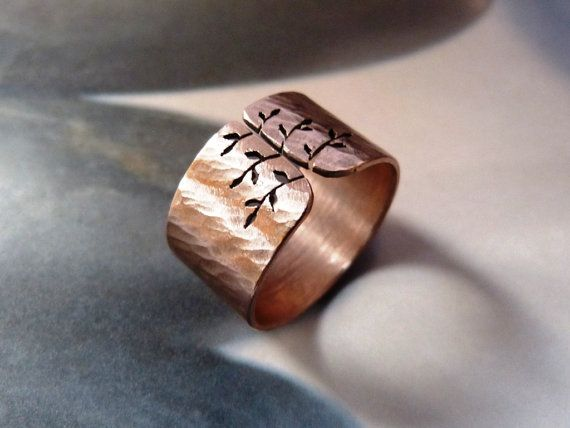 Copper tree ring spring tree wide band metalwork jewelry by Mirma