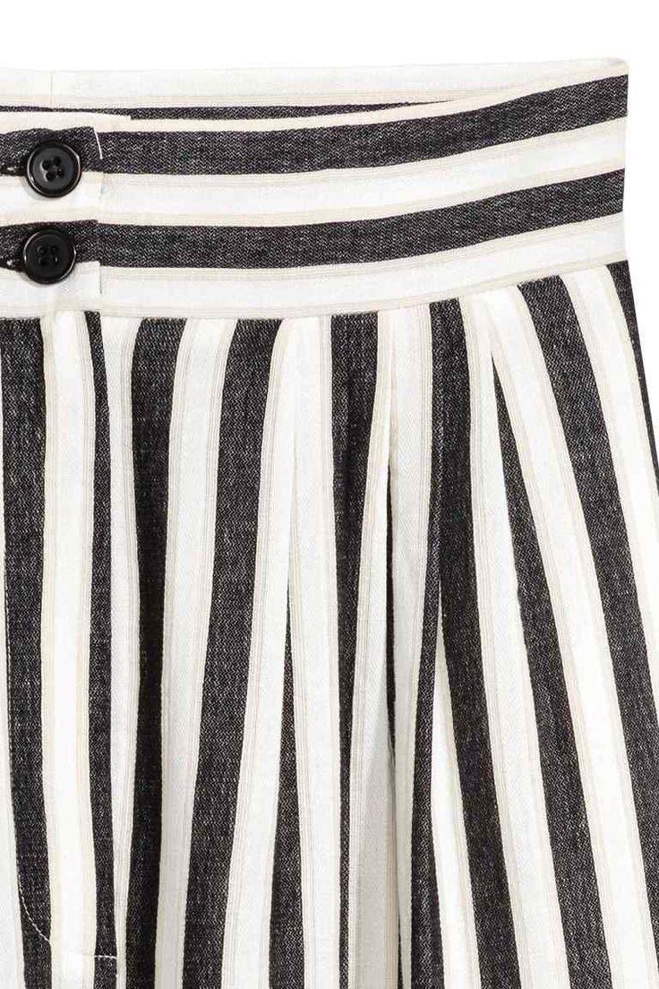 Vide bukser - Sort/Hvidstribet - Ladies | H&M DK