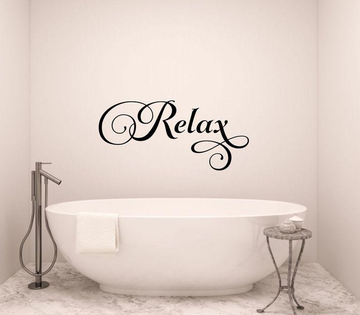 relax wall decal bathroom wall decal bathroom vinyl decal bathroom wall words bathroom wall decor bathroom decor relax vinyl decal - Wall Vinyl Designs