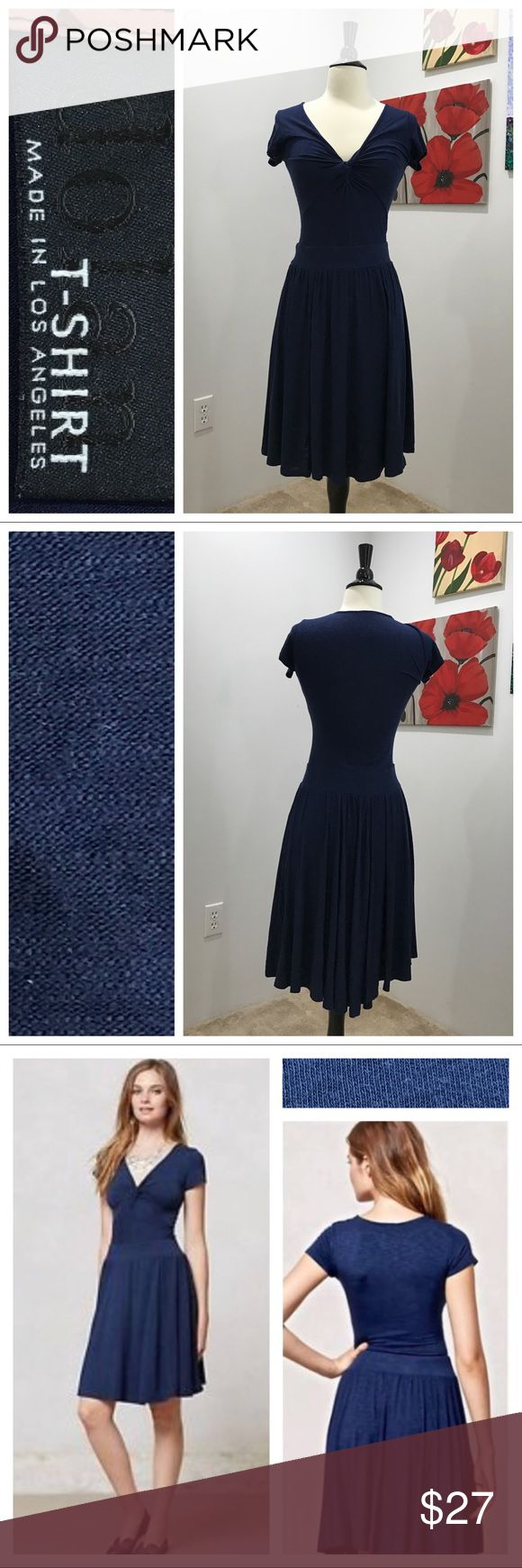 """Anthropologie's Taya Knotted dress by Dolan Bright navy. Great preloved condition. Per Anthro - """"We can't resist a dress that understands our lounge-to-the-last-minute weekend mindset. Dolan's effortless jersey dress is ready to float out the door with booties and a printed scarf."""" Pullover styling. Rayon/Spandex jersey knit. No trades. Price firm unless bundled. Anthropologie Dresses"""