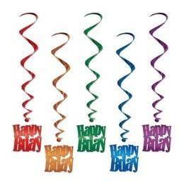 Hangdecoratie Whirls Happy Birthday -  Vijf decoraties om op te hangen tijdens een verjaardag. Leuk voor jong en oud! Lengte: 100cm.   www.feestartikelen.nl