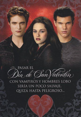 """Twilight Eclipse Valentine's Day """"Pasar El Dia De San Valentin"""" Translation on Back by Greeting Cards - Valentine's Day. $3.99. Greeting Card. Valentine's Day. Twilight Eclipse Valentine's Day """"Pasar El Dia De San Valentin"""" Inside """"Y Absolutamente Fenomenal No crees"""". It is in Spanish and has a Translation on the back in English."""