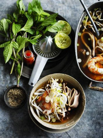 Neil Perry's king prawn and udon in fragrant broth comes to life with a squirt of Sriracha sauce.