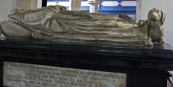 https://flic.kr/p/aTK2sv | martha lady penyston | Stowe, Buckinghamshire Martha Temple, Lady Penyston Born 1595 Died 1620 Parents: Sir Thomas Temple and Hester Sandys  The dual colour marble monument to Martha Lady Penyston, who was the fourth daughter of Sir Thomas Temple and the wife of Sir Thomas Penyston, baronet. She died the 13th January 1620 aged 25. She is displayed in her funeral shrouds with her infant daughter, Hester, who was born and died in 1612,  displayed at her feet. Martha…