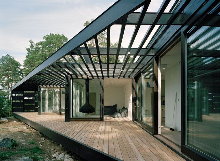 【斜めに建ったビーチハウス】寝室からのパノラマビュー | 住宅デザイン