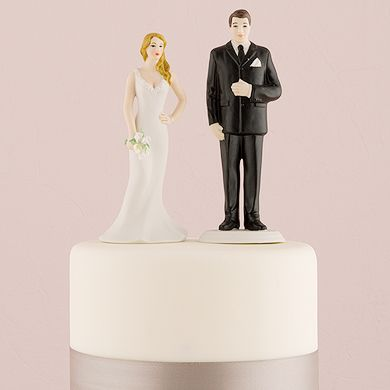 Curvy And Burly Bride And Groom Wedding Cake Toppers. Because we come in all sizes, so do our cake toppers.  The fabulously curvy gal is all Bride and our big and tall Groom celebrates those guys that have more of a linebacker stature. Mix and match with our other interchangeable cake toppers.