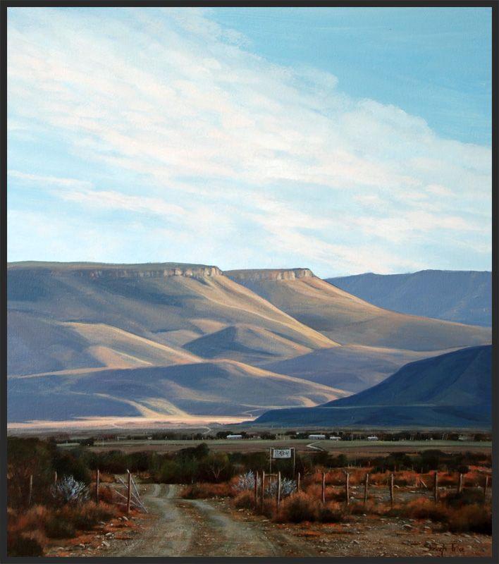 """Evening Shadows"" - Karoo Landscape by South African artist, Shelagh Price.  http://www.shelaghprice.com"