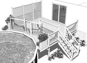 Aménagement de terrasse de piscine en bois traité Crustace
